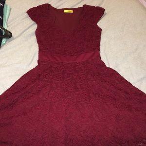 ModCloth Cranberry Lace Dress